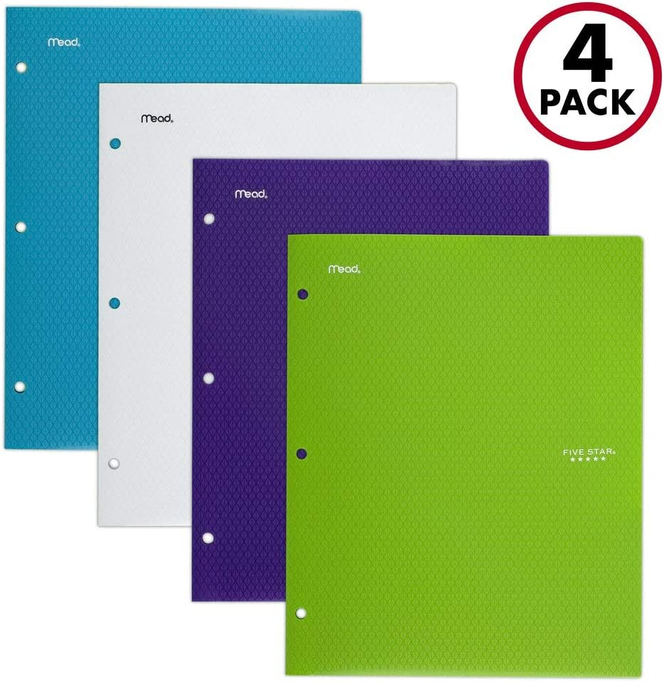 "Five Star 2 Pocket Folders, Stay-Put Folders, Plastic Colored Folders with Pockets & Prong Fasteners for 3-Ring Binders, For Home School Supplies & Office, 11"" x 8-1/2"", Assorted, 4 Pack (38065)"