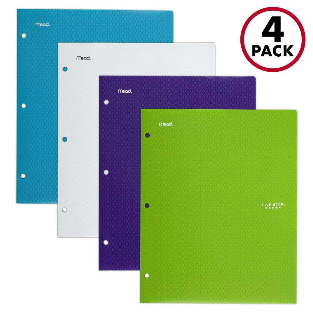 Five Star 2 Pocket Folders, Stay-Put Tabs, Binder Folders with Pockets, Fits 3 Ring Binder, Plastic, Teal, White, Purple, Lime, 4 Pack (38065) by Five Star