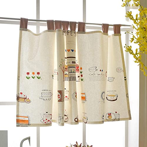 KMSG 1pc Small Window Curtain Valances Tier Curtains for Bathroom Water Repellent Window Covering Kitchen Rod Pocket Curtains for Short Window 23 L x 55 W Linen Cafe Curtains