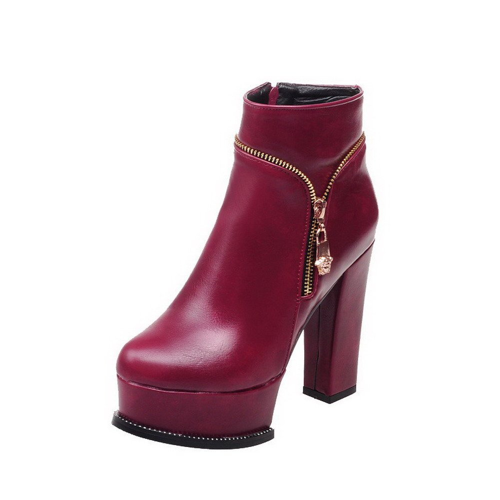 VogueZone009 Womens Round Closed Toe High-Heels Zipper Pu Low-Top Solid Boots, Claret, 35 by VogueZone009