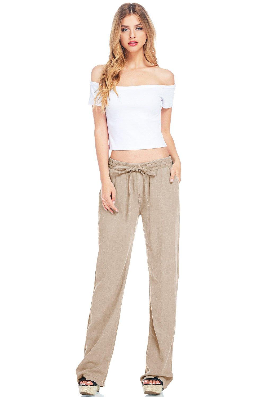 Celebrity Pink Women's Juniors Wide Leg Linen Pants (M, Khaki)