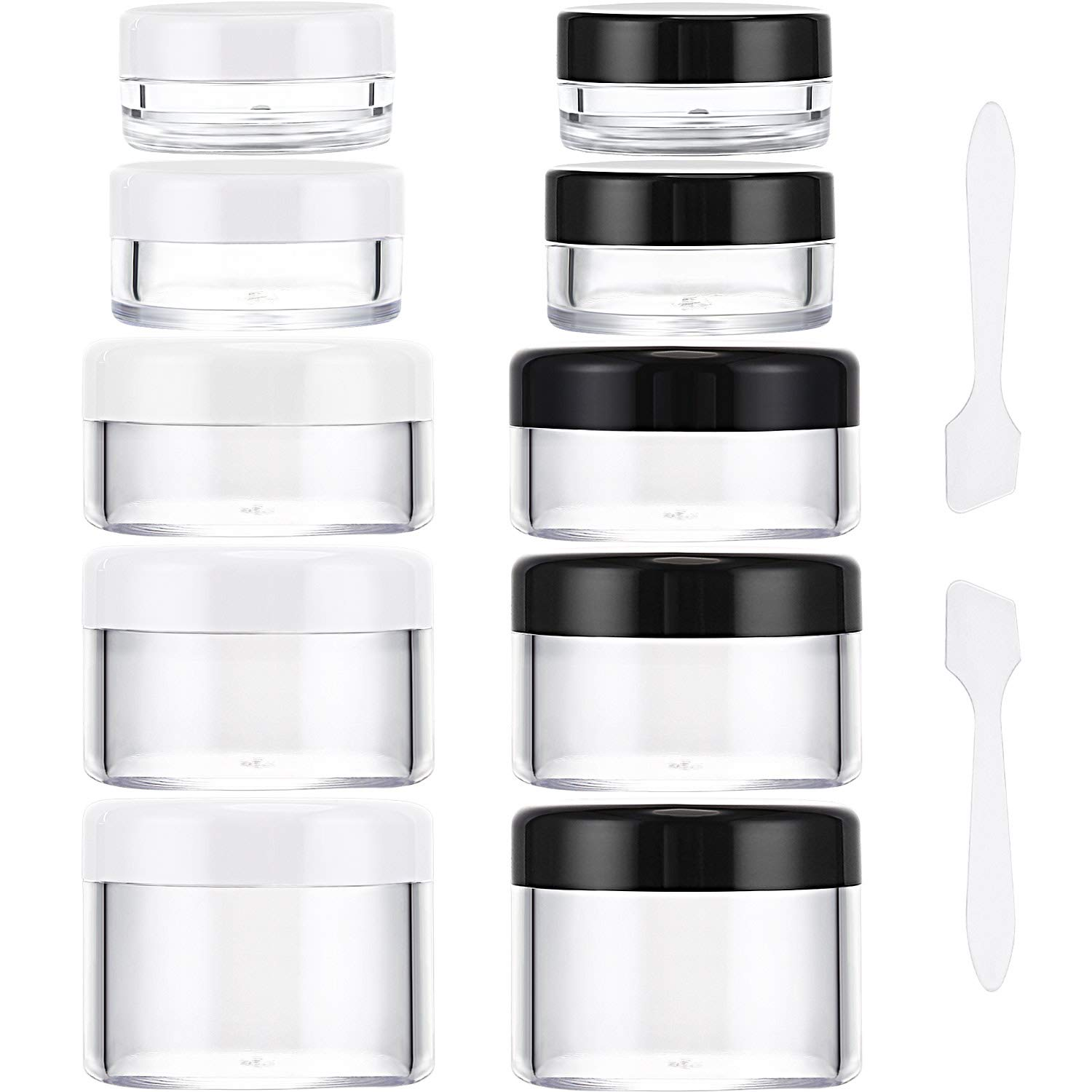 eBoot 10 Pieces Empty Clear Plastic Sample Containers 3/5/ 10/15/ 20 Gram Size Round Cosmetic Pot Jars with Screw Cap Lids and 2 Pieces Mini Spatula (Black and White)