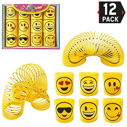 Liberty Imports Assorted 64mm Yellow Emoji Magic Coil Springs Large Classic Novelty Toys | 12 Pack Party Favors Gift Bundle for Kids and Adults (2.5 -