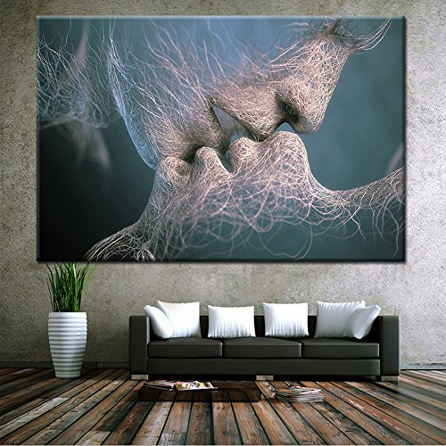 Canvas Wall Art Prints Men and Women Sweet Kissing Abstractism Love Modern Arts Posters Spray Pints Painting Art Deco for Home Living Room Bedroom Workshop HGH01 (#2, 31