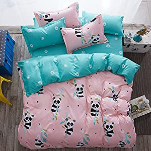 """KFZ Girls Kids Baby Panda Bed Set Twin Full Queen Size, 1 Duvet Cover (Without Comforter Insert) 1 Flat Sheet and 2 Pillow Cases (Small Panda, Pink, Twin 60""""x80"""" 4pcs)"""