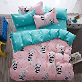 Fashion Design Kids/Adult Bedding Sets 4pcs/Set Bedsheet Duvet Cover Pillow Cases Twin Full Queen Size (Full, Panda A)