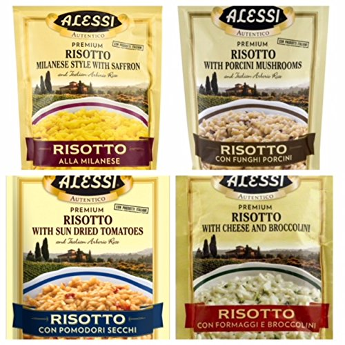 (Alessi Premium Risotto 4 Flavor Bundle: Risotto Milanese Style with Saffron 8 oz, Risotto with Porcini Mushrooms 8 oz, Risotto with Dried Tomatoes 8 oz and Risotto with Cheese and Broccolini 6.5 oz.)