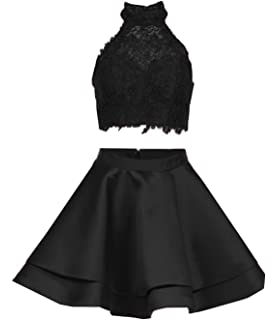 fd74ec79f104 Girl's Satin Lace Halter Short Prom Dress Two Pieces Homecoming Dresses