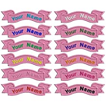 Custom Embroidery ribbon Name Patch ,2 pieces Personalized Military Number Tag Customized Logo ID For Multiple Clothing Bags Vest Jackets Work Shirts(pink background)