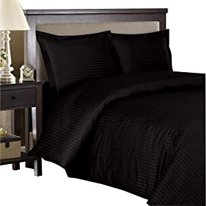 Royal Hotel Striped Black 300-Thread-Count 3pc Full/Queen Duvet-Cover 100-Percent Cotton, Sateen Striped, 100% Cotton