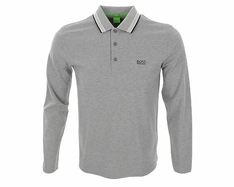 d492ab646 Hugo Boss Green PLISY Long Sleeve 50272945 059 Grey Polo Shirt - Blue  Piping (M): Amazon.co.uk: Clothing