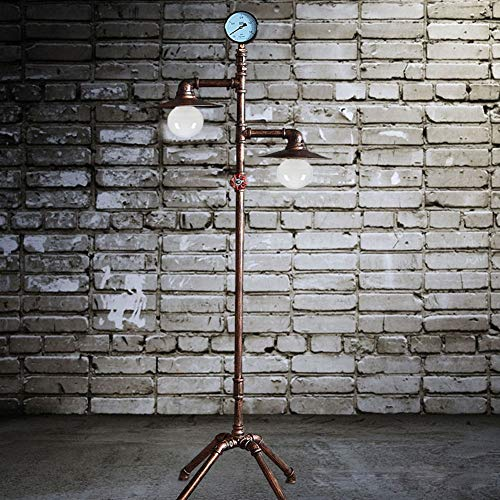 L Industrial Retro Floor Lamp, E27 Double Head Do The Old Antique Copper Wrought Iron Water Pipe Standing Lamp 1.53M with Dimming Switch