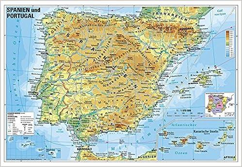 Spanische Karte.Spanien Und Portugal Physisch Wandkarte Poster Amazon De