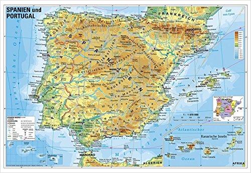 Spanien und Portugal physisch: Wandkarte / Poster