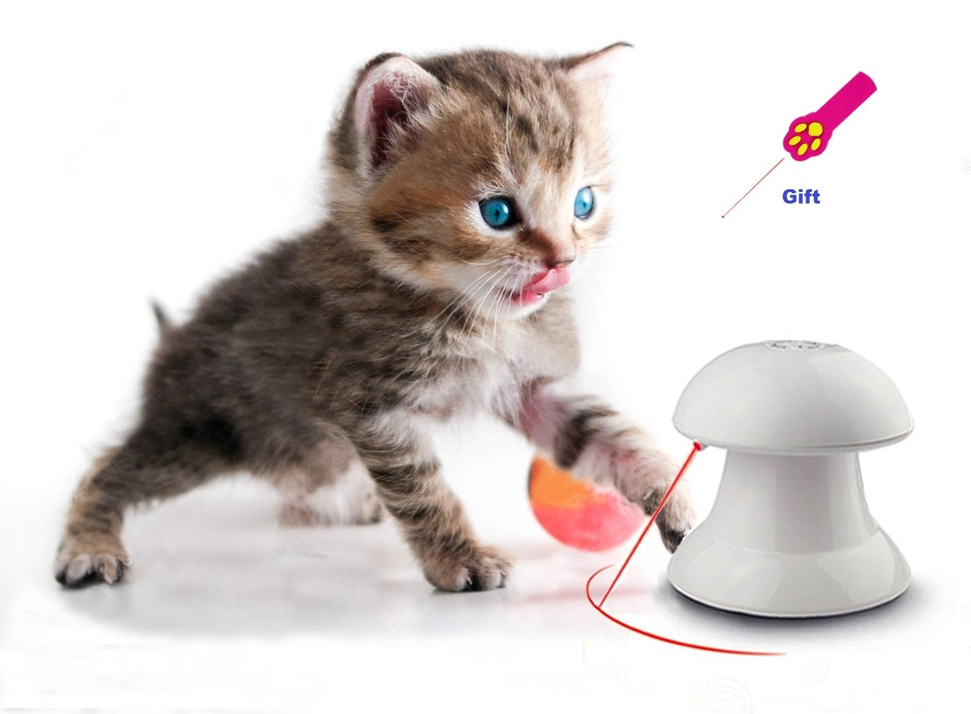 Pet Interactive Dart Laser toy Kitten Puppy Rotation Led Light Pointer Cat Dog Catch Scratching Chaser Exercise Entertainment Training Tool Automatic Rotating with Different Speeds