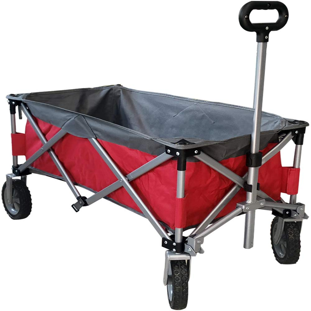 Eurmax Sports Collapsible Sturdy Steel Frame Garden Carts on Wheels Utility Beach Wagon Cart,Bonus 8x8Ft Picnics Mat (RED & Gray)