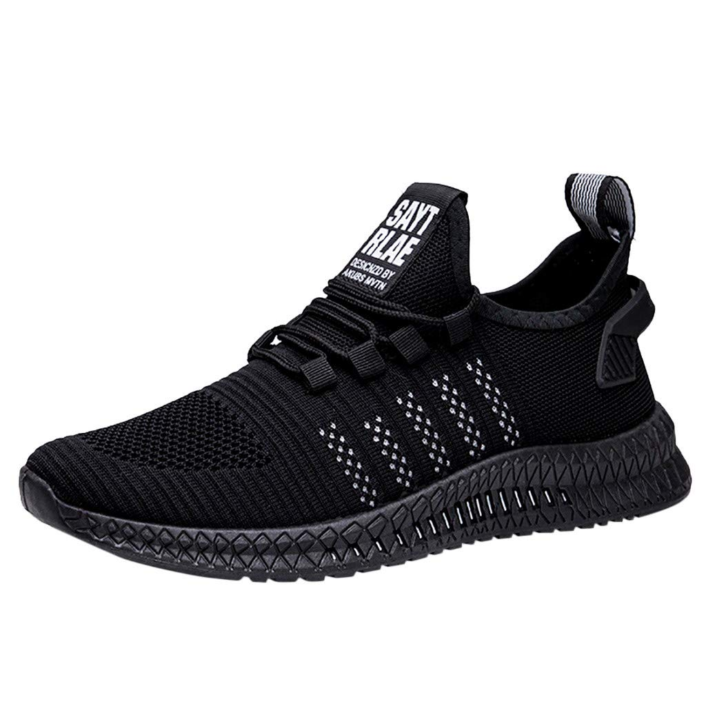ZOMUSAR Fashion Men's Basic Spring Autumn Shoes Mesh Breathable Wearable Outdoor Lightweight Sports Shoes White by ZOMUSAR