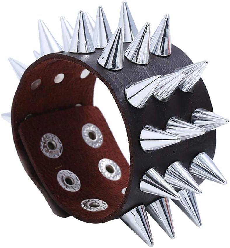 ZUOZUO Lederarmband Punk Coole Armband M/änner und Frauen Kunstleder Multi-Spike Niet konisches Armband Armband Schmuck Handgelenk Dekoration