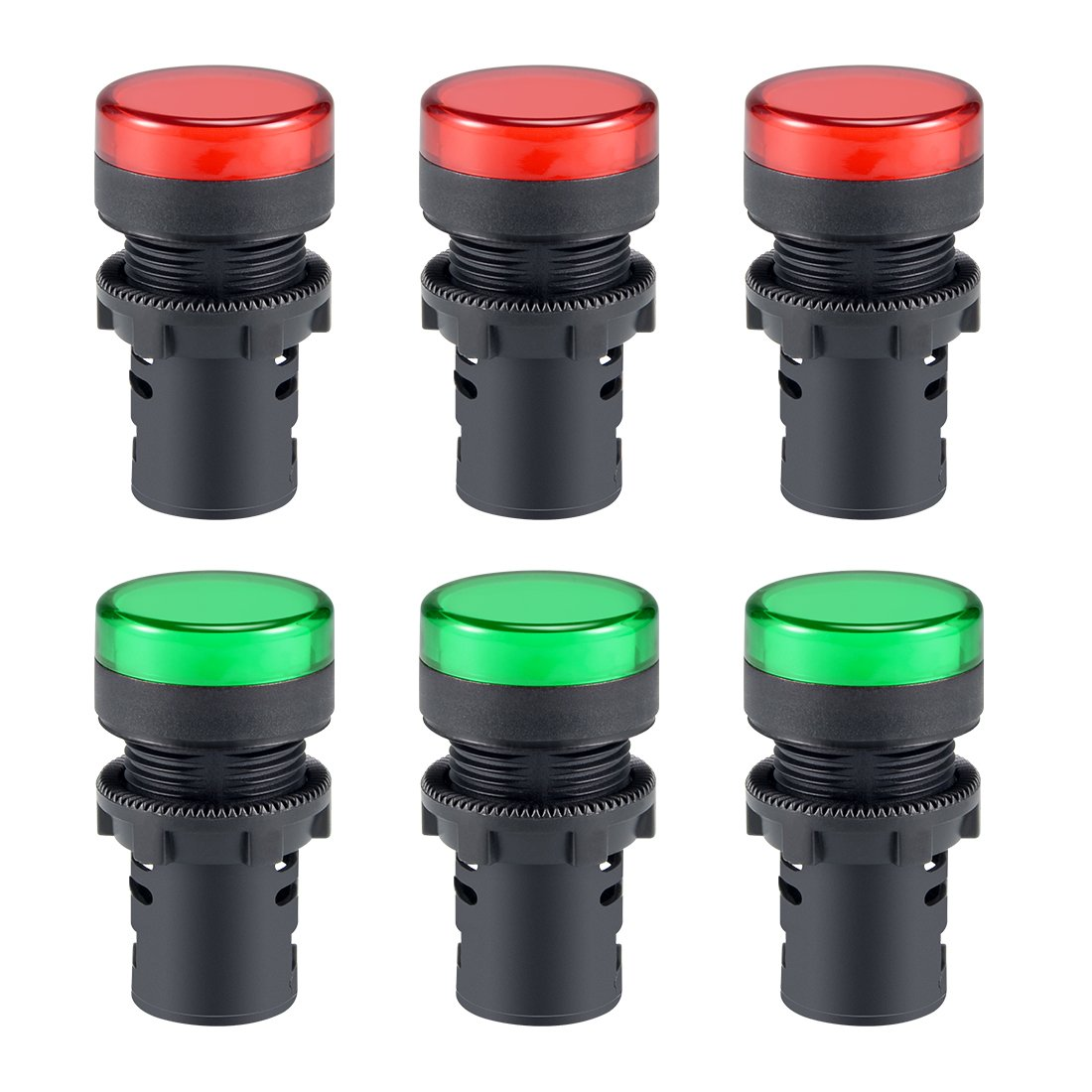 Flush Panel Mount 7//8 22mm Red+Green LED sourcing map 6Pcs AC//DC 12V Indicator Lights
