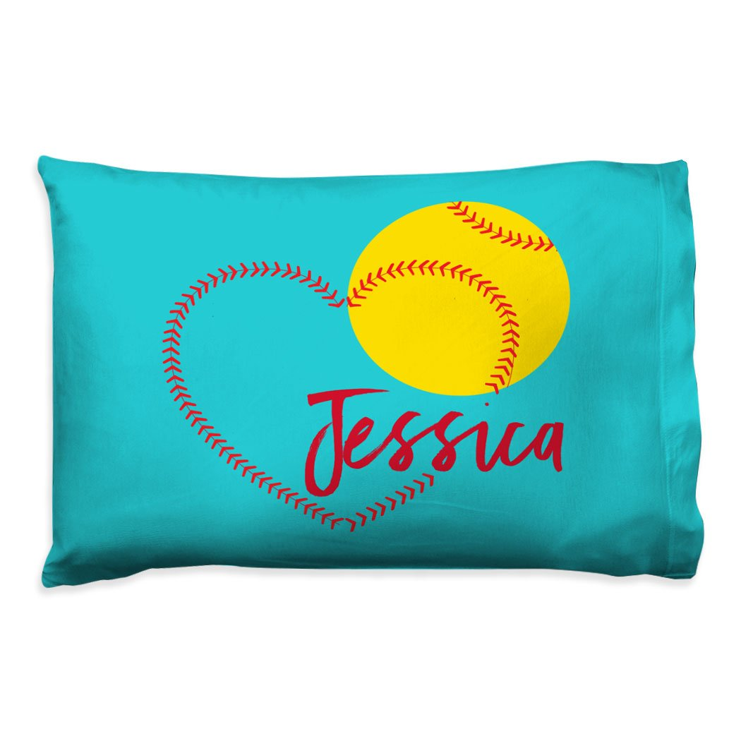 Personalized Softball Heart Pillowcase | Softball Pillows by ChalkTalk SPORTS | Teal