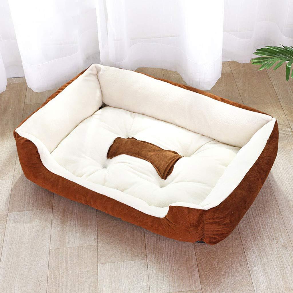 BROWN S BROWN S LJM- Dog Bed,Dog Lounge W Solid Memory Foam, Waterproof Liner, YKK Premium Zippers (color   Brown, Size   S)