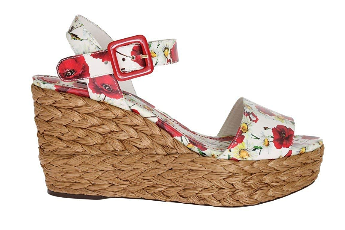 Multi Floral Leather Straw Wedges Sandals
