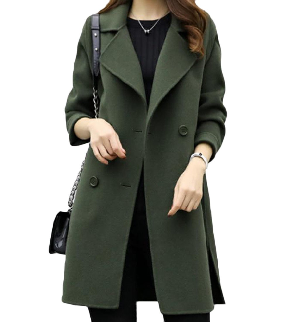 Tootless-Women Double-Breasted Long Sleeve Korean Style Lapel Woolen Coat Army Green L