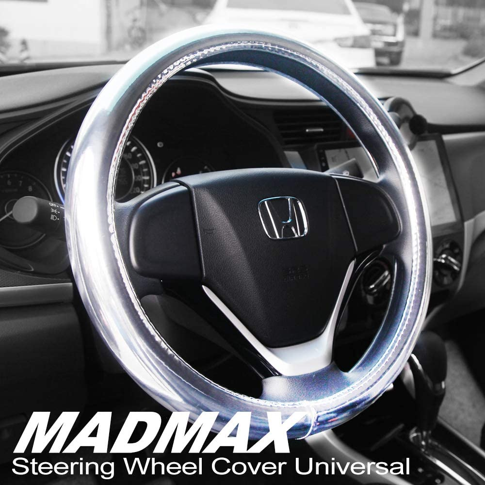 Madmax Steering Wheel Cover, Universal 14.5 Inches PU Leather Wheel Cover, Glossy Finish, Soft Padding, Durable, Odorless, Synthetic Leather, Comfort Grip Handle, Silver