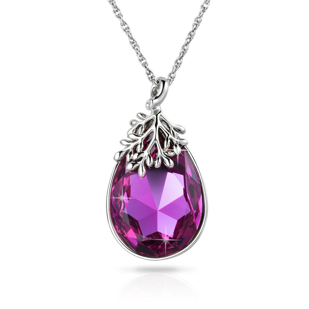 Alantyer Women's Jewelry Waterdrop Pendant Necklace Aquamarine Swarovski Crystal Jewelry Gifts for Women Girls, Lucky Olive Leaf Alantyer Jewelry Crystals from Swarovski ALN-16N005
