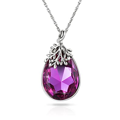 Alantyer Birthstone Lucky Stone Pendant Necklace for Women with Crystal Beautiful Gift Box Z0cDT