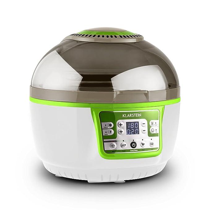 Klarstein Heissluftfritteuse: Klarstein VitAir Turbo - Heißluftfritteuse, Fritteuse, 1400 Watt, 9 Liter Garraum, fett-frei Frittieren, Backen, Grillen, Rösten, Halogen-Infrarot-Heizelement, grün-weiß