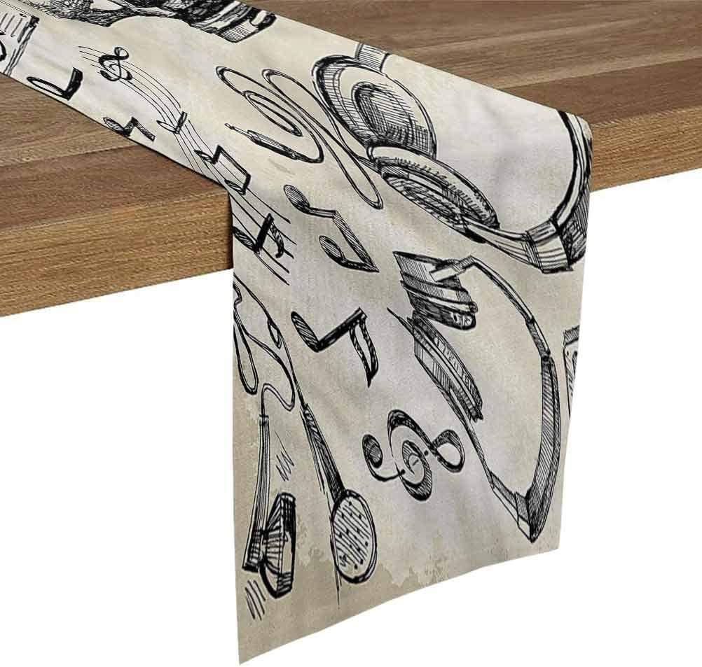 SoSung Table Runner for Living Room 16x72 Inch Music,Music Hipster Skull Dresser Scarfs and Runners for Bedroom Dining Room Kitchen Table Decor,Outdoor or Indoor Parties