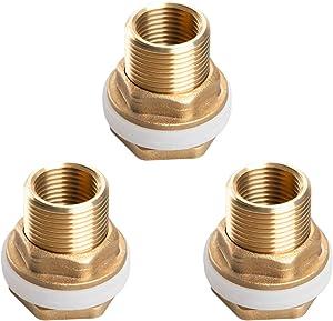 Alanfox 3 Sets Brass Bulkhead Tank Fitting, 1/2