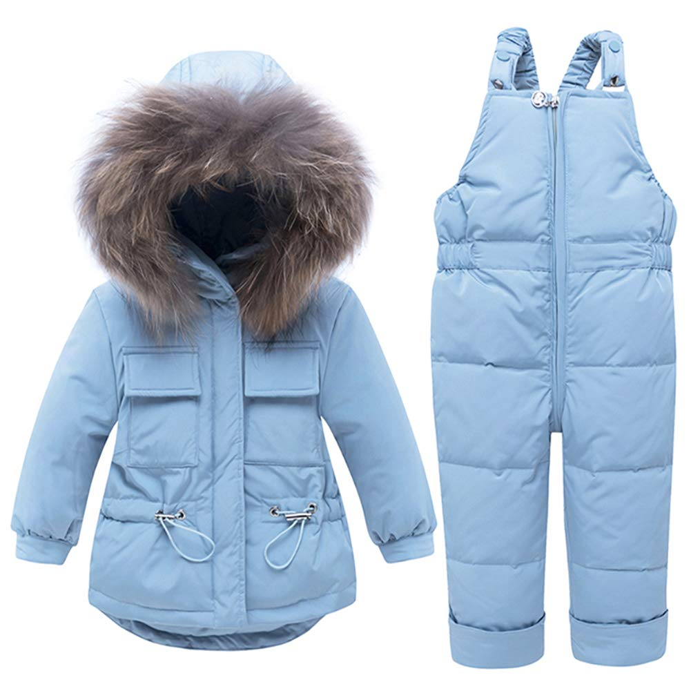 WESIDOM Baby Boys Girls Snowsuit,Toddler Winter Outfit Sets Kids Hooded Artificial Fur Down Jacket Coat and Ski Bib Pants Blue by WESIDOM