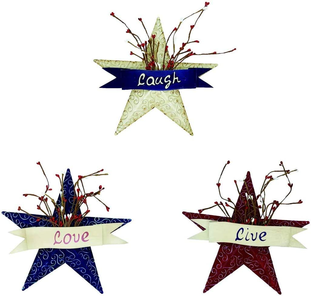 YUMBOR Rainbow Handcrafts Rustic Metal 3D Barn Star Patriotic Wall Decor Americana Star with Love,Laugh & Live-July 4th Country Americana Patriotic Wall Ornament,Outdoor Decoration Set of 3 (Blue/Red/Beige)