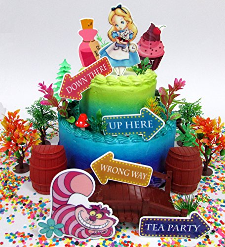 Alice in Wonderland Adventureland Birthday Cake Topper Set with Alice, Cheshire Cat and Other Decorative Themed Accessories