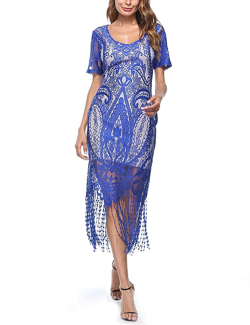 TALLA S(ES 34-36). FeelinGirl Vestido Largo de 1920s Vintage con Fleco Encaje Vestido de Manga Corta Fiesta para Mujer Azul S(ES 34-36)