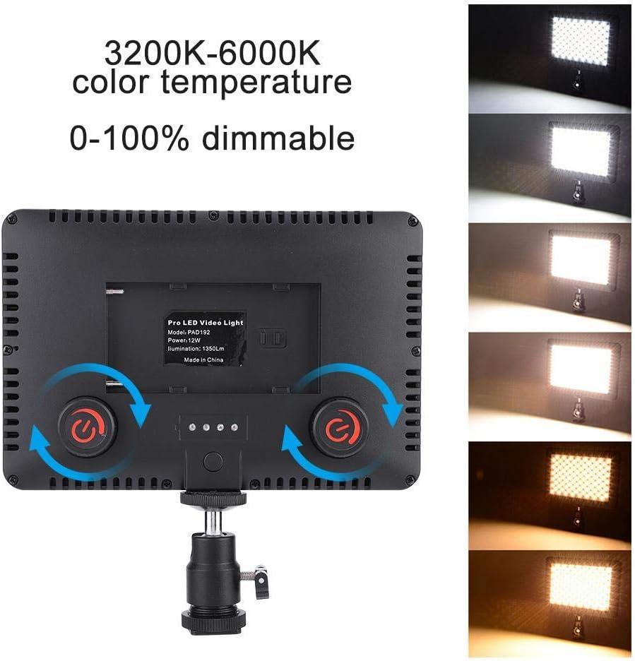 192 LEDs Ultra-Thin Portable Camera Video Light with Hot Shoe Mount LED Video Light 3200K-6000k Color Temperature LED Video Light for DSLR Camera Camcorder