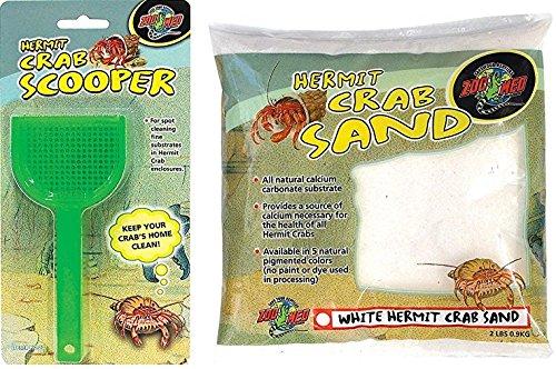 Zoo Med Laboratories Hermit Crab ((Bundle) Zoo Med Laboratories SZMHC20 Hermit Crab Scooper and Zoo Med Laboratories SZMHC2W Hermit Crab, 2-Pound, Sand White)