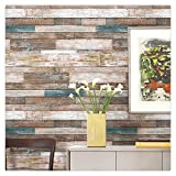 HaokHome 606 Distressed Wood Plank Wallpaper Rolls Blue/Beige/Brown Wooden Plank Murals Home Kitchen Bathroom Photo Wall Paper 20.8'' x 33ft