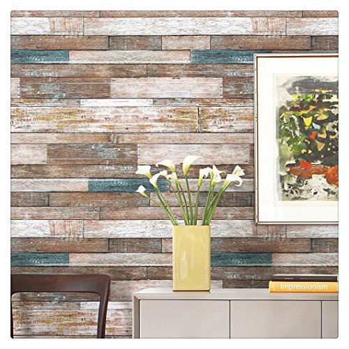 "HaokHome 606 Distressed Wood Plank Wallpaper Rolls Blue/Beige/Brown Wooden Plank Murals Home Kitchen Bathroom Photo Wall Paper 20.8"" x 33ft"