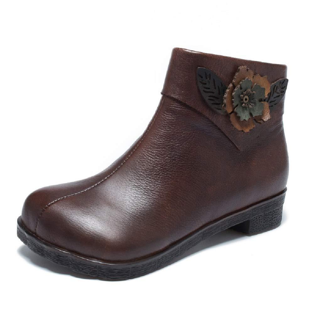 ZHRUI Handgemachte Vintage Frauen Stiefel Blaume Reißverschluss Lederschuhe (Farbe   Braun, Größe   EU 36)