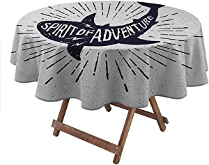 "shirlyhome Circular Table Cover Shark Soil Resistant Table Cover Spirit of Adventure Quote Over A Fish Body Wildlife Motivational Grunge Design Table Cloth for Party Indigo Pearl (Diameter 70"")"