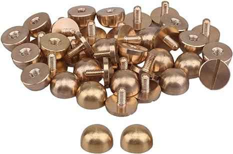 20pcs Solid Brass Studs Screw Back Feet Nailhead Semi-circle For Purse Handbag