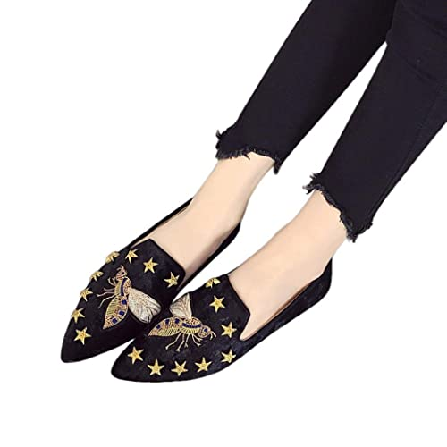 0c0cf169d88 Fheaven Women s Summer Flats Bee Embroidery Suede Shoes Slip-On Casual  Loafers (US