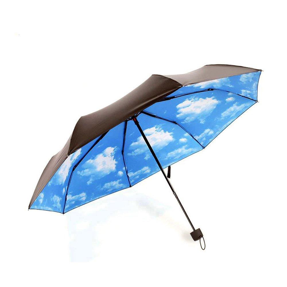 Owfeel Travel Umbrella Sunblock UV(Ultraviolet) Block Protection Compact Lightweight Umbrella Blue Sky & White Cloud Inside