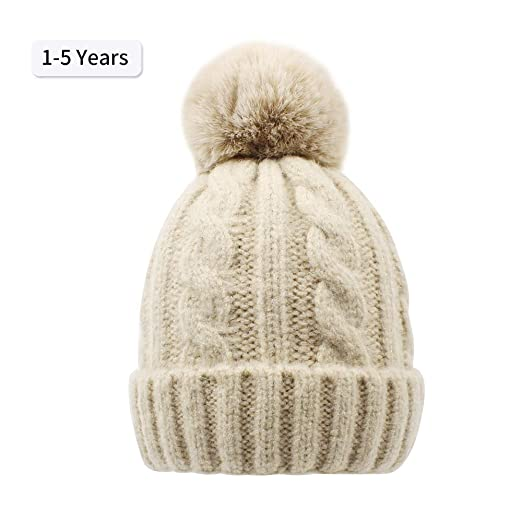 BAVST Baby Winter Beanies Faux Fur Pom Pom Kids Knit Hat Toddler Boys Girls  Warm Infant cbe14c1dd51