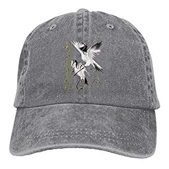 Two Cranes in Bamboo Denim Hat Adjustable Male Great Baseball Hats