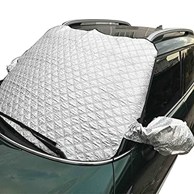 Thickened Car Windshield Snow Cover - 58 x 38 Inch Exterior Sun Shade Protector with Mirror Protective Cover and 2 Bonuses, Storage Pouch- Keeps Ice , Frost and Snow Off Fits Most of Car & SUVs