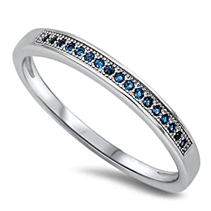 2.5mm Half Eternity Wedding Engagement Band Ring Round Deep Simulated Sapphire CZ 925 Sterling Silver
